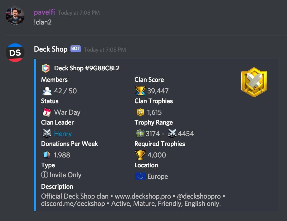 Deck Shop Discord Bot | Best Clash Royale decks, guides