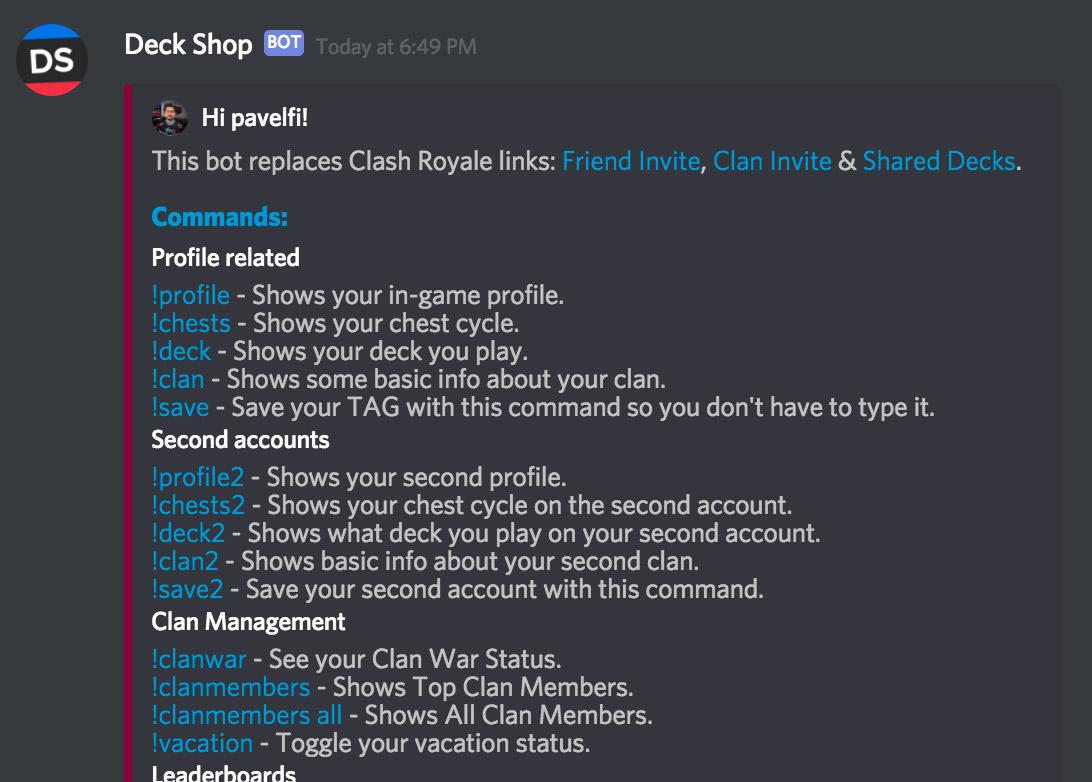 Deck Shop Discord Bot | Beste Clash Royale decks, gidsen